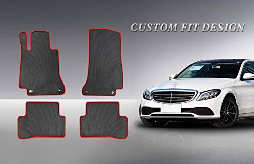 HD-Mart Auto Floor Mats Custom Fit for Mercedes-Benz C Class W205 S205 2015 2016 2017 2018 2019 2020 C200 C250 C300 C350 Rubber Black and Red Car Floor Mat All Weather Heavy Duty Odorless