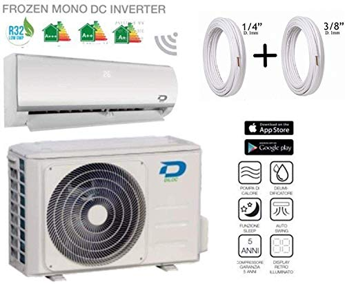 Diloc FROZEN airconditioning 24000 Btu R32 Inverter Wand D.FROZEN124 Compressor Sharp + slang 3/8 inch + 5/8 inch 15 Metri (15+15)
