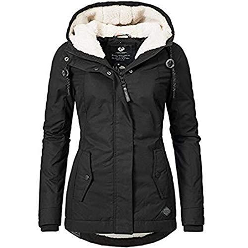 QWEWQE - Cappotto invernale da donna, spesso, antivento, caldo, sportivo, con cerniera, lungo, con cappuccio e cappuccio foderato in peluche Nero XXL