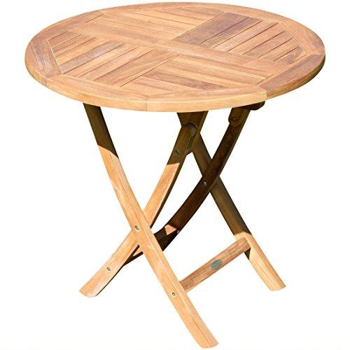ASS ECHT Teak Gartentisch Klapptisch Holztisch Gartentisch Tisch rund 80cm JAV-Coamo von