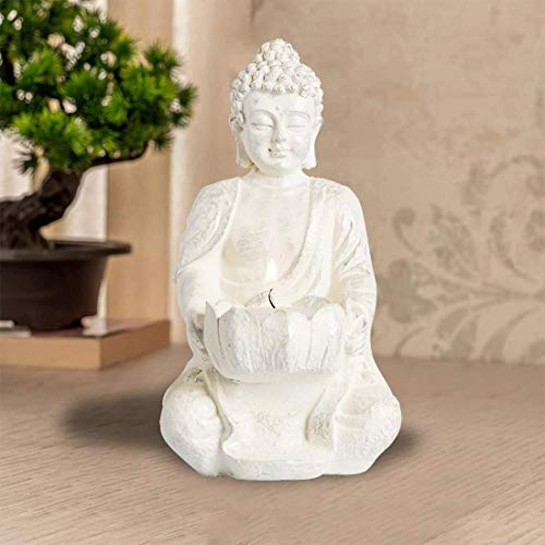 1 PCS Praying Buddha Statue,Meditating Buddha Statues Home Decoration ,Stone Buddha Tealight Holder for Home/Garden Buddha Decor, Antique Gold/White Look (White)