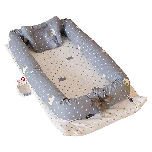 Lits de voyage ZIXIANG Lits-Cages Baby Nest Pod 100% Coton Biologique Berceau Bébé Literie Bambin Nouveau Née Co-Sommeil Lit De Repos Lits bébé Berceaux (Color : Gray)