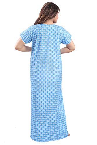 Soulemo Women's Cotton Printed Maxi Nighty (872BS_Blue_Small)