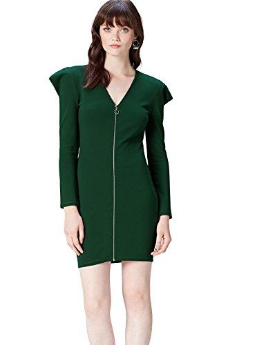 Amazon-Marke: find. Damen Langarmkleid mit Reißverschluss, Grün (Pine Grove), 34, Label: XS