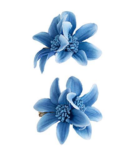 SIX Haarspange mit Lilie im 2er-Set [Damen Haarschmuck] - Haarclips » Haar Clips « Frauen Schmuck im Blumen Design - Haarklammer - Haarnadeln - Klammer - Haarspange - blau (488-703)