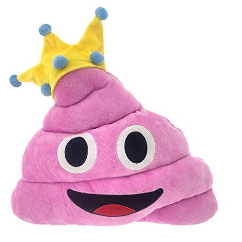 CREOFANT Emoji Kissen Smily Kackhaufen · Kuschelkissen Plüsch · Kackhaufen Kissen · Spielzeug für Kinder · Plüschkissen Kackhaufen mit Krone · Emoticon Kissen