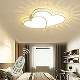 LED Dimmbar Deckenleuchte Schlafzimmer Wohnzimmer Kinderzimmer Decke Lampe mit Fernbedienung, Liebe Herz Design Acryl-schirm Kristall Deko Kronleuchter für Landhaus Bad Flur Licht (30w L52*W40cm)