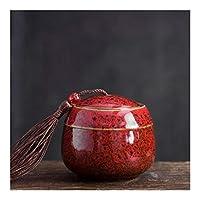 NMSB セラミックスペットCasketの骨壷ペットメモリアル壺鳥灰ホルダー火葬骨壷のために灰ペットの壺 (Color : Red)