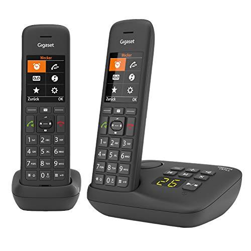 Gigaset C575A Duo, 2 Schnurlose Telefone mit Anrufbeantworter, großes Farbdisplay mit aktueller Benutzeroberfläche, Adressbuch für 200 Kontakte, Jumbo-Modus, Anrufschutz, schwarz