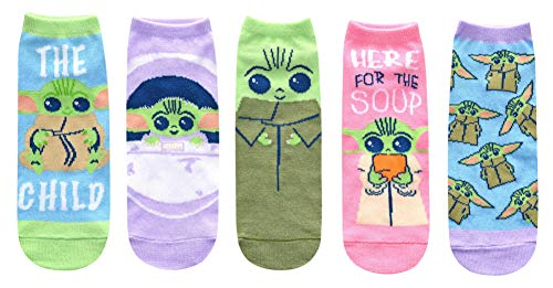 Star Wars Baby Yoda Chibi Art Here For The Soup Juniors/Womens 5 Pack Ankle Socks