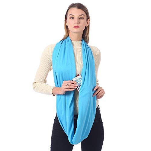 Hethrone Loop Schal für Damen Multifunktional Tuch schal mit versteckter Tasche Schlauchschal Rundschal Frühlingsschal Geschenkidee für Frauen (Monochrom Blau)