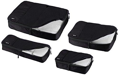 Amazon Basics Kleidertaschen-Set, 4-teilig, je 1 kleine, mittelgroße, große und schmale Packtasche, Schwarz
