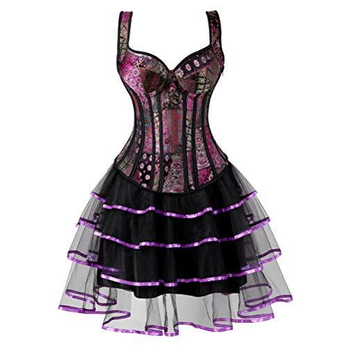 Damen Corsagenkleid Corsage Kleid kurz Bustier Vollbrust mit Strapse träger Blumen Spitze überGröße sexy Fasching Rock Lila S