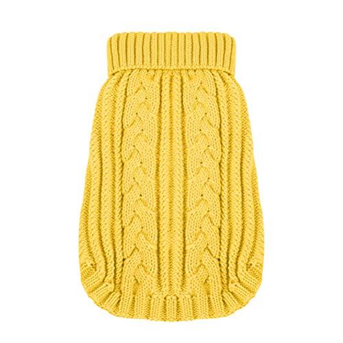 Balacoo Hundepullover gestrickt Hund Rollkragenpullover Weihnachten Winter Strickwaren warme Haustier Pullover für Hund Welpen Größe XXS (gelb)