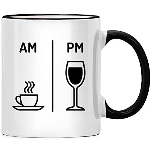 AM PM - Taza de café y vino con texto en alemán