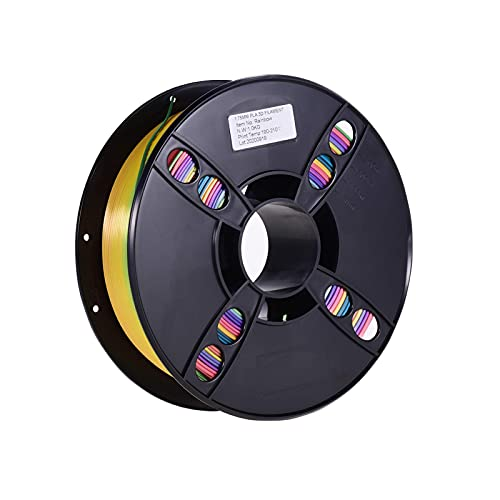 Pla Filament, Normal PLA 3D Printer Filament Eco-Friendly Printing Consumables 1.75mm Diameter 1kg(2.2lbs) Spool Dimensional Accuracy +/- 0.05mm Light Purple (Color : Rainbow Color)