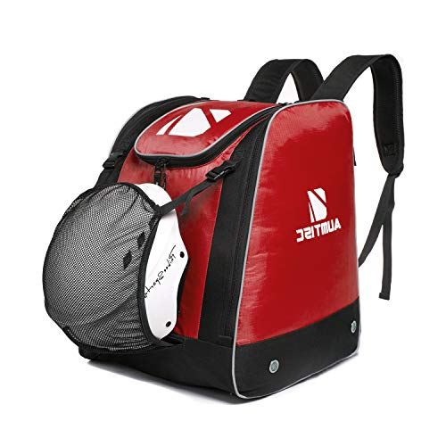 AUMTISC Ski Boot-Backpack Skiing-Snow Sports Gear Travel Bag Stores Jacket Helmet Goggles Gloves & Accessories-Venting Grommets Snow Drainage Red