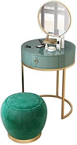 HLZY Escritorio de tocador para dormitorio decoración del hogar 2 en 1 escritorio de tocador de maquillaje 1 cajón blanco tocador con espejo y silla mesa de maquillaje dorado redondo familia