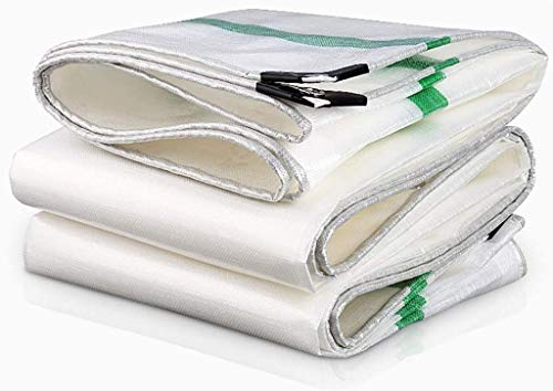 QYQS Camping Tarp with Grommets and Reinforced Edges, Extra Reinforced Corners Will Reduce Wear On Tarp(Size:3×3m,Color:White)