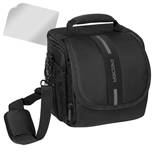 PEDEA SLR Kameratasche für Sony SLT-A58K, SLT-A58Y / Canon EOS 80D, 1100D / Nikon Coolpix P900 / Panasonic Lumix DMC-FZ1000 (Größe M) schwarz/grau mit Displayschutzfolie