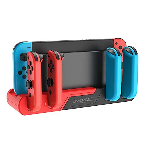 Interruptor de Mando Estación de Carga Compatible con Nintendo Switch Interruptor de Controlador Estación de Muelle de Cargador para Nintendo Switch Joycon Almacenamiento de 8