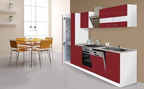 respekta Küche Küchenzeile Küchenblock 310cm weiß rot Kühlkombi Designhaube