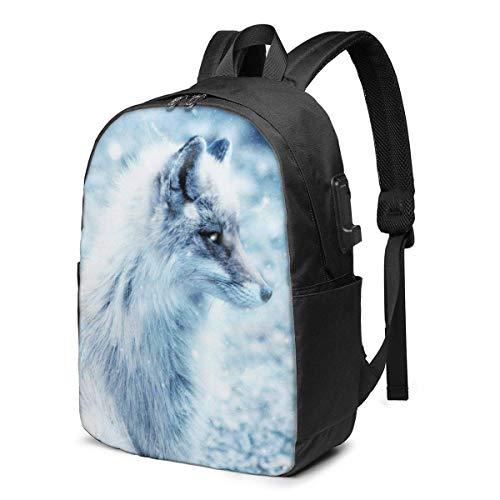 17 pulgadas mochila portátil cargador USB bolsa de libros nieve arte lobo Daypack durable mujeres chica etiqueta tarjeta bolsa