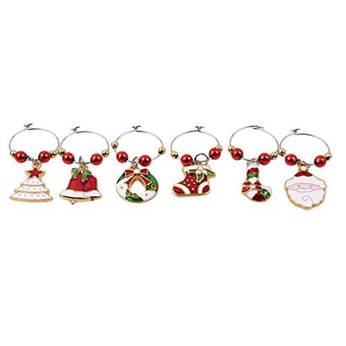Airlove 6 Stück Weihnachtsglas Charms Thema Party Weinglas Tags Weihnachtsweinringe für Becher Drink Marker,6 Stile
