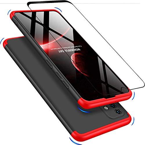 JOYTAG Cover Compatibile Samsung A51 4G, Custodia + vetro temperato Protezione a 360°PC hard case-Rosso Nero