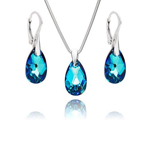 LillyMarie Damen Schmuck set Sterlingsilber 925 Tropfen-Anhänger Swarovski Elements Blau Längen-verstellbar Geschenkverpackung Geschenkideen für die Frau