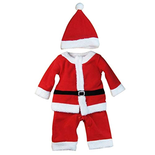 STOBOK Christmas Baby Santa Costume Jumpsuit with Hat Climbing Clothes Baby Clothes Romper Pajama for Baby Newborn 100cm