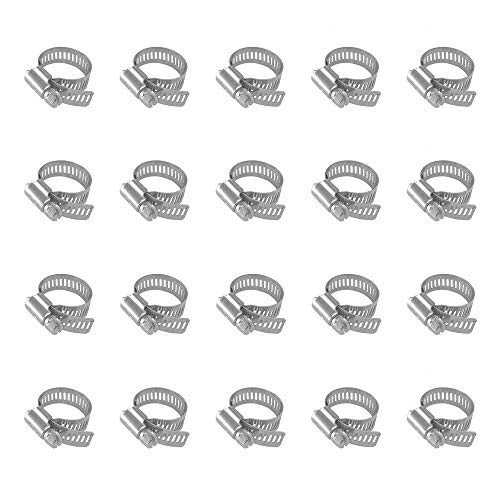 20pcs Small Water Hose Clamp Stainless Steel, Adjustable Clamping Range 18-32mm, Worm Gear Hose Duct Clamp for Dryer Pipe, Plumbing, Automotive and Mechanical Application