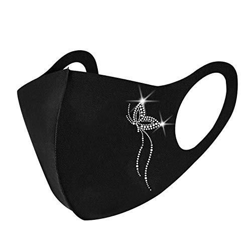 FantaisieZ Damen Mund und Nasenschutz mit Glänzend Strass, Waschbar Mundschutz mit Glitzer Motiv Komfortabel Wiederverwendbar Atmungsaktiv Mund-Nasen Maske Halstuch Schals