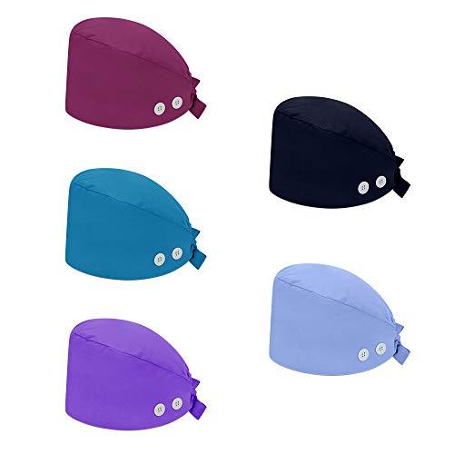 Reesibi Gorro de Quirofano Cap Hat Ajustable Hombre Mujer Fines Multiples, Gorros Turbante Pelo Sombrero Trabajo, Estampado Gorro, Gorro Ducha - 5 unidades