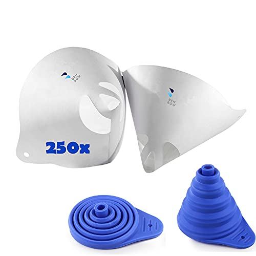 BenBow 250 filtros de pintura de 125 µ, filtro de papel desechable con tejido de nailon + embudo de silicona, colador cónico de pintura, accesorio para barnices, pinturas, líquidos, tejidos
