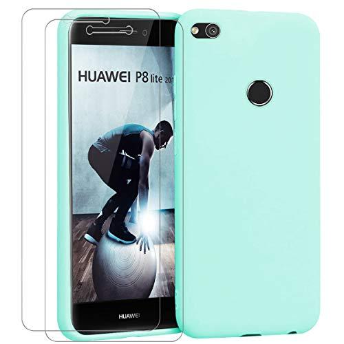 "Ingen - Funda para Huawei P8 Lite 2017 + 2 Pack Protector de Pantalla, Funda Suave de Silicona Líquida con tapete de Microfibra Anti-Rasguño. para Huawei P8 Lite 2017 5.2"".Menta Verde."