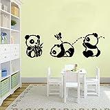 Enfants Panda Stickers Muraux Bébé Chambre Pépinière Décor À La Maison Vinyle Autocollant Mural Filles Garçons Chambre Adolescent Chambre Art Belle Murale 30X92 Cm Noir