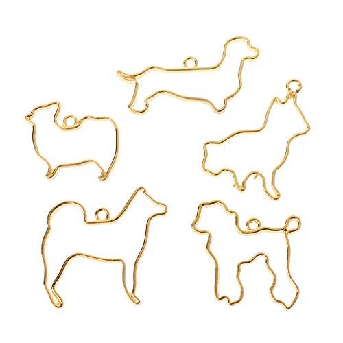Colgantes de marco, colgantes de bisel, Baiyao 5 piezas lindo perro abierto biseles colgantes para manualidades de resina UV - dorado