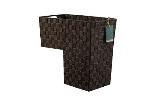 HomeModele Step Basket Stair Storage Basket Organizer with Handles Nylon-Woven (Black) (Brown)
