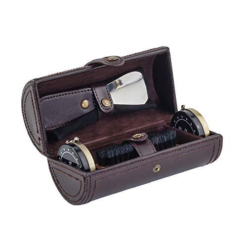 CORDAYS - Kit Deluxe para el Cuidado del Calzado con Cepillo, Calzador, Paño de Limpieza y Abrillantador Hecho a Mano en Piel – Kit Limpieza de Zapatos - en Color Marrón CDM-00018A