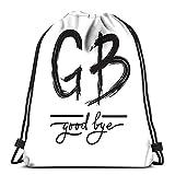 Randell Gym Drawstring Backpack Sport Bag GB Goodbye Simple Inspire Abbreviations Lightweight Shoulder Bags Travel College Rucksack For Women Men