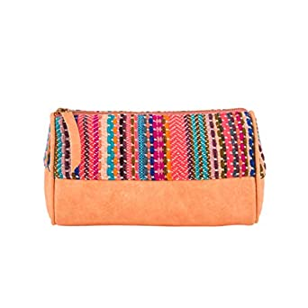 Back Stitch Flat Weave Pouch - Peach