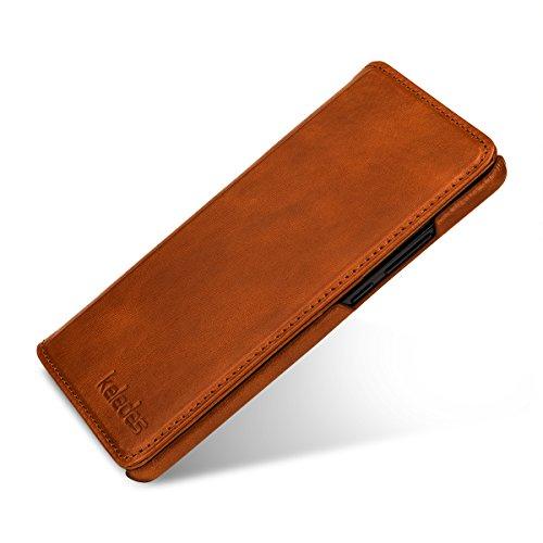 keledes kompatibel mit Huawei Mate 10 Hülle aus Echtem Leder,Brieftasche Flip Case mit Karten-Fächern, Cognac Braun - 4