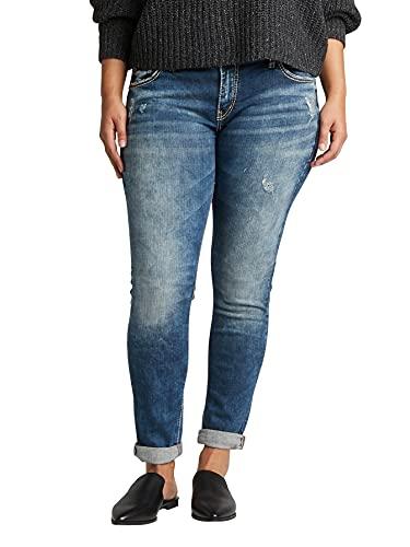 Silver Jeans Co. Women's Plus Size Kenni Mid Rise Skinny Leg Girlfriend Jean, Medium Marble Wash, 14W X 27L