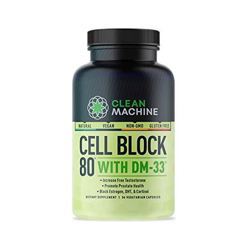 Cell Block 80 - Natural Vegan Testosterone Support Supplement, Estrogen, DHT & Cortisol Blocker - Prostate Health Supplement - 56 Veggie caps