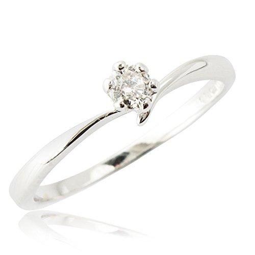 鑑別付 白系GHカラー 0.1ct 一粒ダイヤモンド リング プラチナ100 (Pt100 ) 天然ダイヤモンド ティファニーセッティング 6本爪 (15号)
