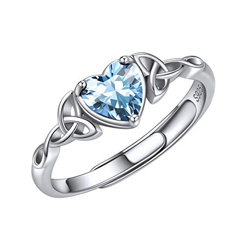 ChicSilver 925 Sterling Silver March Birthstone Rings 6mm Blue Aquamarine Celtic Trinity Knot Heart Shape Engagement Band Rings for Women