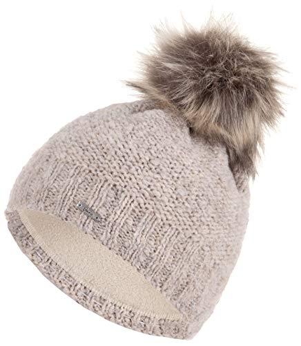 Faera weiche Wintermütze warm gefüttert Kunstfell Bommel-Mütze Fleece-Futter Winter Strick-Mütze Beanie-Mütze Damen Herren One-Size 17, Farbe:Beige