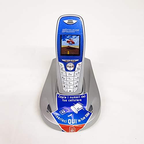 Telefono fisso cordless Aladino 2, telefono domestico da casa con rubrica, vivavoce, sveglia, lettore di schede sim per trasferire contatti (Blu)
