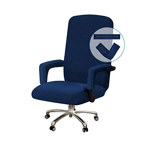 Turquoize Office Chair Cover Stretchable Chair Cover for Office Chair Computer Chair Cover Office Chair Cover with Armrest Covers Jacquard Boss Chair Cover High Back, Machine Washable, Medium, Navy